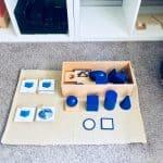 geometric solids on montessori work mat