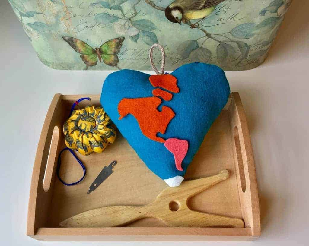 Montessori Handwork:  Hanging Felt Geo Heart