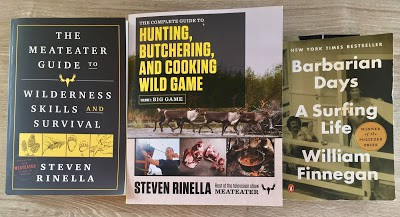books on hunting, fishing, wilderness, and surfing