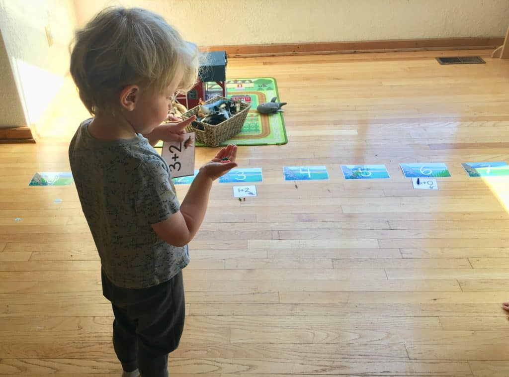 Montessori Math Addition using colored beads and dinosaur printable