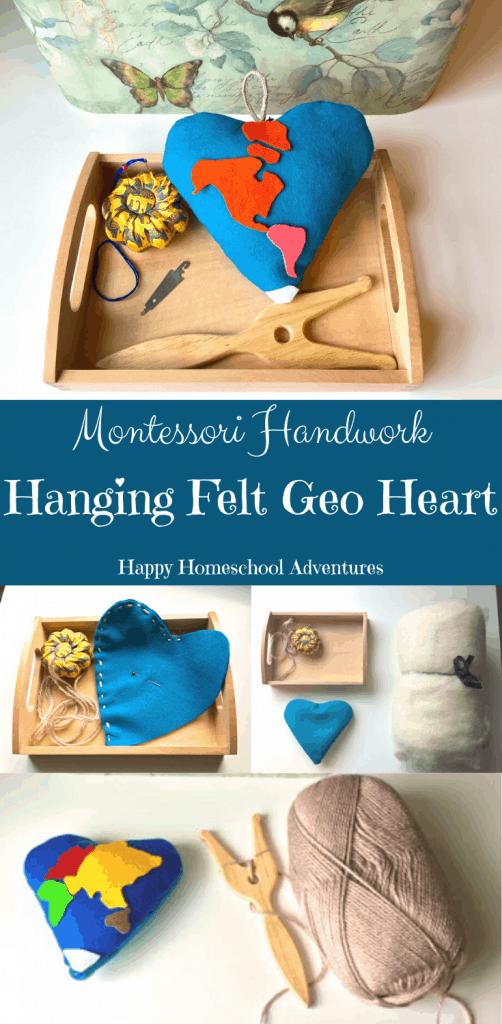 Help your child to grow in their independence, develop their pincer grasp, and strengthen their hands while simultaneously developing their concentration. This Montessori Practical Life Sewing Shelf Work: Hanging Felt Geo Heart is perfect for the child who loves Sewing, Hearts, Valentine's Day, and/or Geography. #montessori #montessoripracticallife #montessorihandwork #montessorigeography #homeschool #montessorisewing #sewing #geopillow