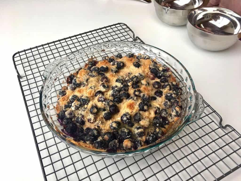 Blueberry Dump Cake on Cooling Rack.