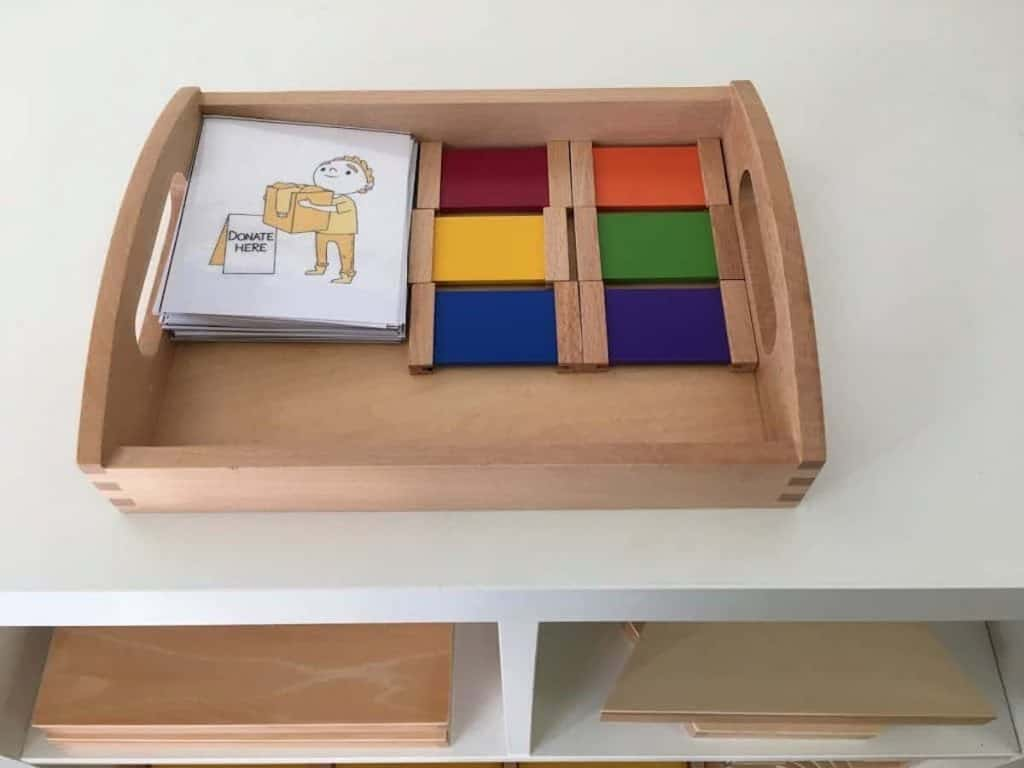 Grace and Courtesy themed Color Sorting Sensorial Shelf Work