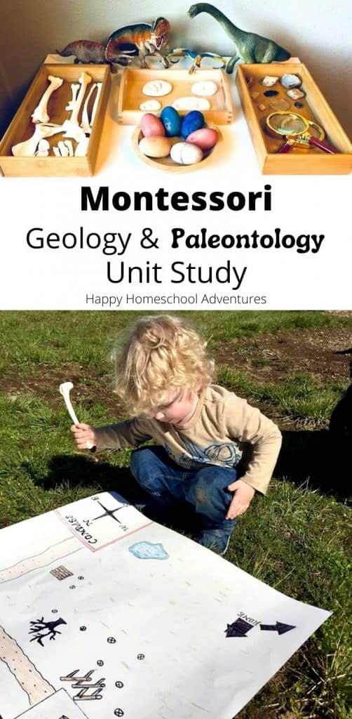 This Montessori Geology & Paleontology Unit Study nurtures fun, affordable, hands-on learning about dinosaurs & fossils using books, art, and more. #montessori #homeschool #montessoriunitstudies #montessoriscience #naturestudies