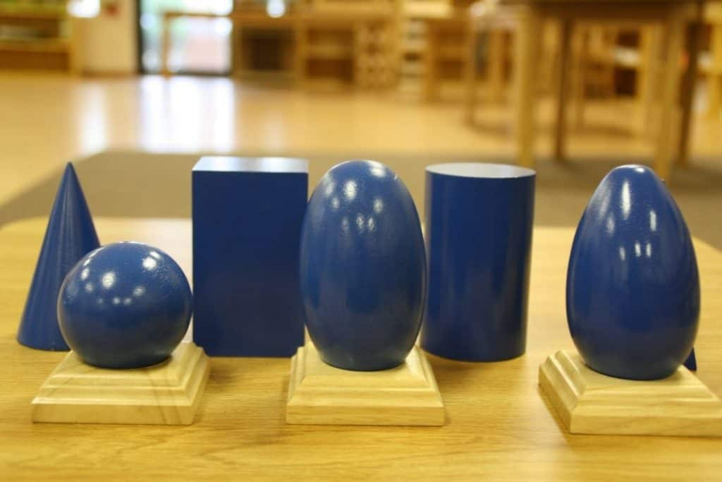 Selection of Montessori Geometric Solids on table