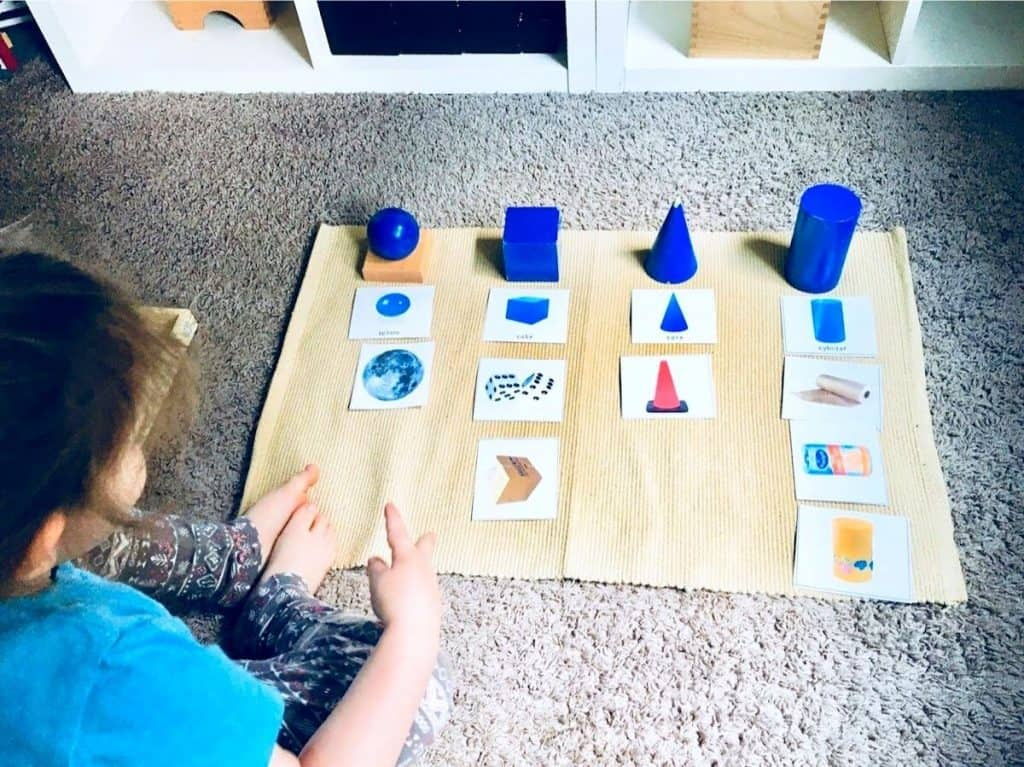 Child doing Sensorial Sorting Extension