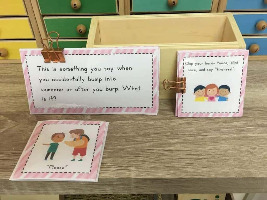 Montessori language command cards and question cards