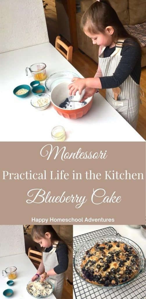Montessori Practical Life in the Kitchen baking blueberry dump cake. Perfect summer activity after picking blueberries and kids gain useful skills. #homeschool #montessori #montessoripracticallife #montessoriinthekitchen #montessorikitchen #montessoribaking #montessorifoodprep #montessorisummer #kidssummeractivities #montessorimath