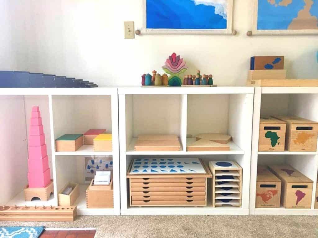 Montessori Sensorial Materials on Homeschool Shelves