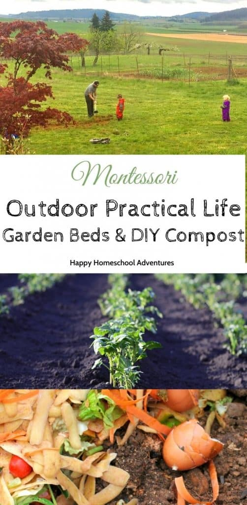 Starting in-ground garden beds from scratch? See how we involve our kids in getting our vegetable garden beds up and running in our homeschool gardening program. #montessori #homeschool #montessorigardening #montessorigardeninglessons #diycompost #kidsactivities #gardening