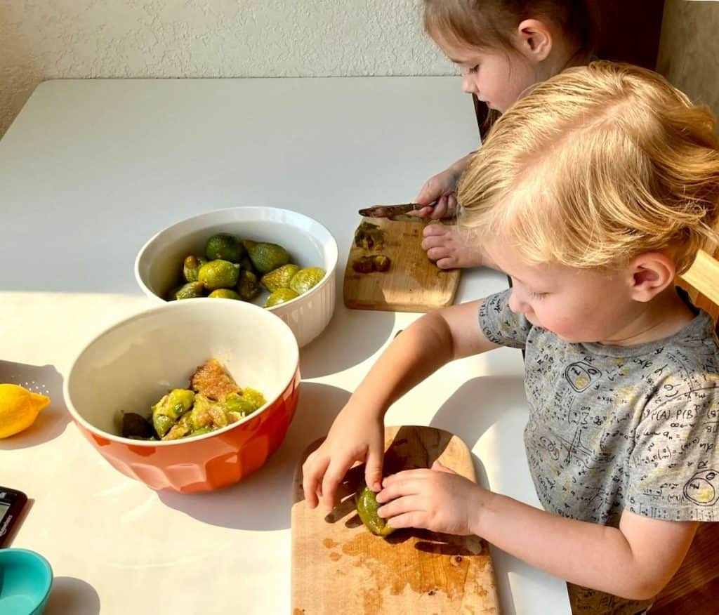 Montessori Food Prep with Figs, cutting boards, and knives