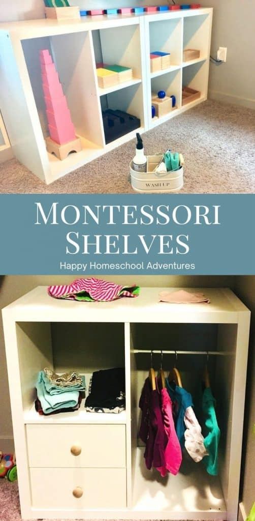 Affordable Montessori Shelves encourage & promote independence in life skills. Great for displaying homeschool materials & encouraging play. #montessori #homeschool #montessorispaces #montessoriplanning