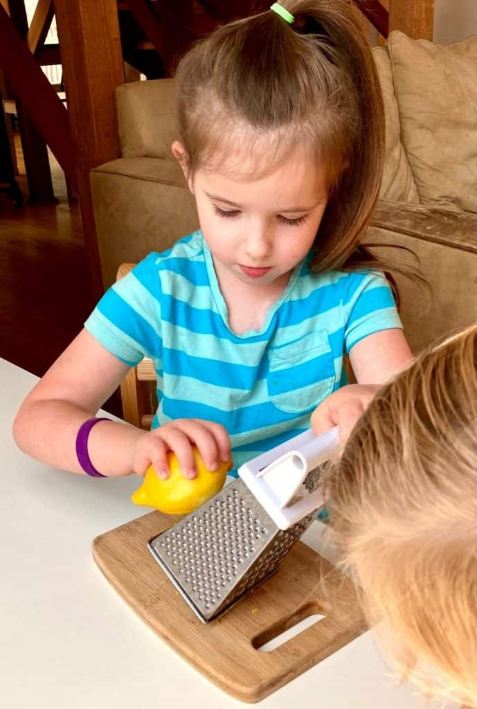 Montessori Food Prep with lemon, box grater, and cutting board