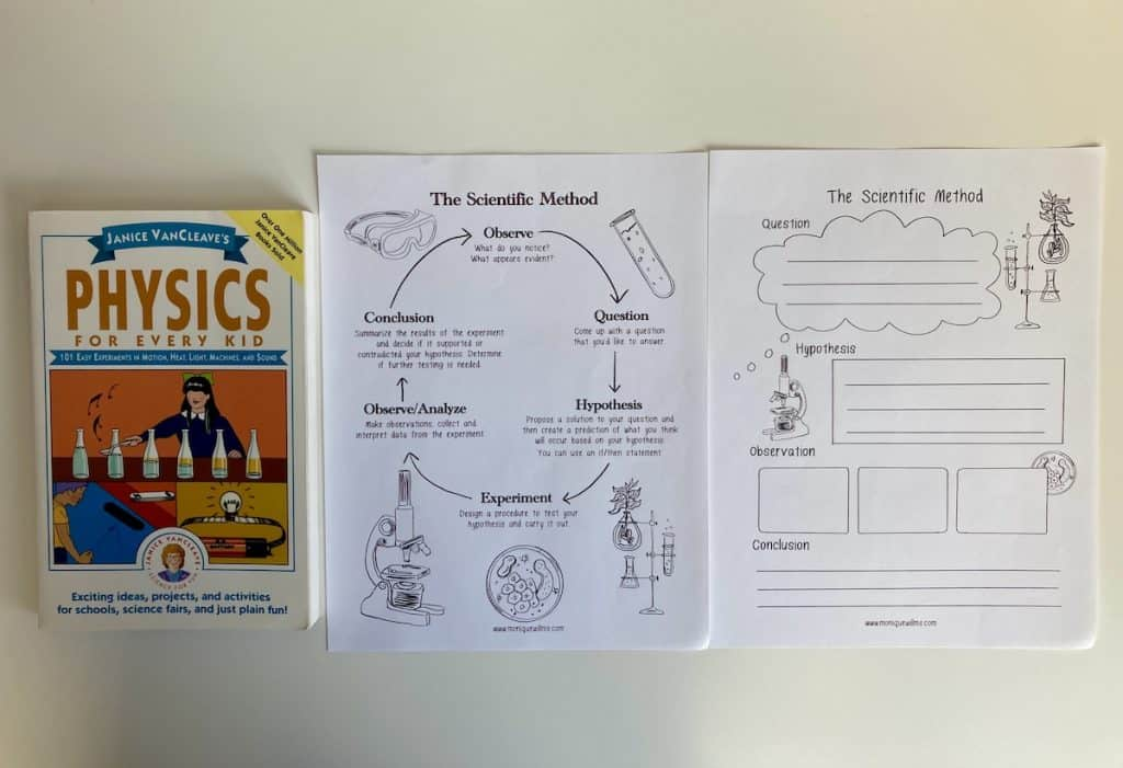 physics experiment book and scientific method printables
